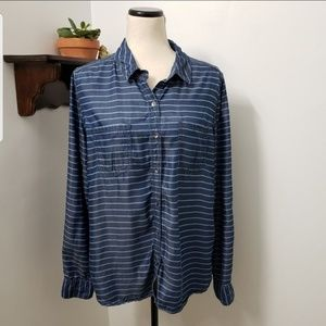 Halogen Tencel Striped Button Up Size Large